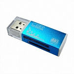 "USB 2.0 Card reader CBR/Human ""Glam"" CR-424, синий цвет, All-in-one, Micro MSM2, SD, T-flash, MS-DUO, MMC, SDHC,DV,MS PRO, MS, MS PRO DUO"