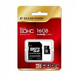 Micro SecureDigital 16Gb Silicon Power SP016GBSTH010V10-SP MicroSDHC Class 10, SD adapter