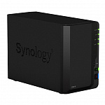 Synology DS218 Сетевое хранилище QC1,4GhzCPU/2GB DDR4/RAID0,1/up to 2hot plug HDDs SATA3,5''/2xUSB3.0,1xUSB2.0/1GigEth/iSCSI/2xIPcamup to 20/1xPS
